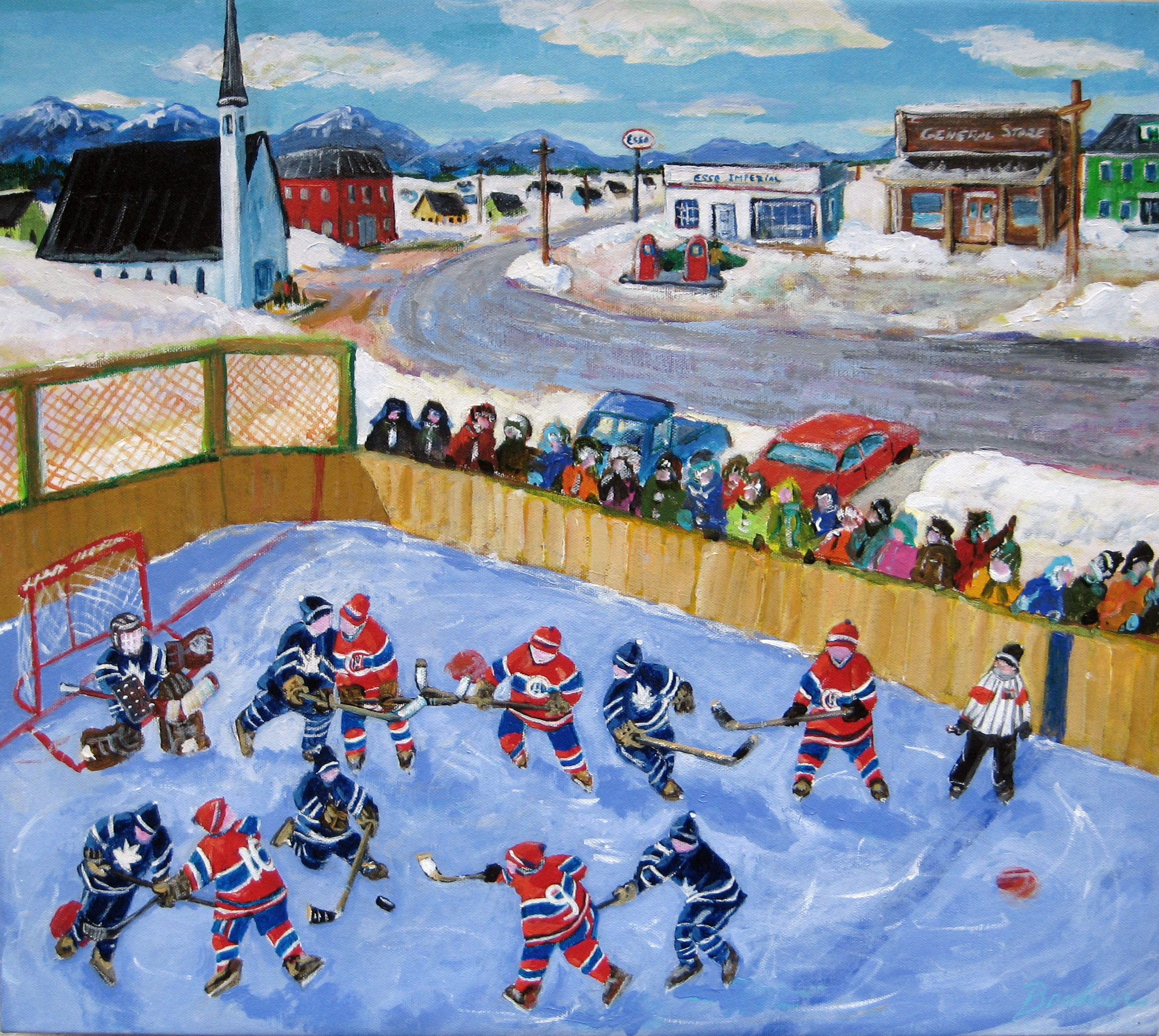 Hockey Face Off Painting