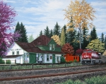 LYLE LONGSTAFF. CN Station in Fort Langley. Acrylic. 16x20