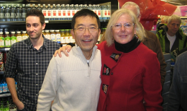 Robert Lee and Brenda Alberts at the grand opening of Lee's Market