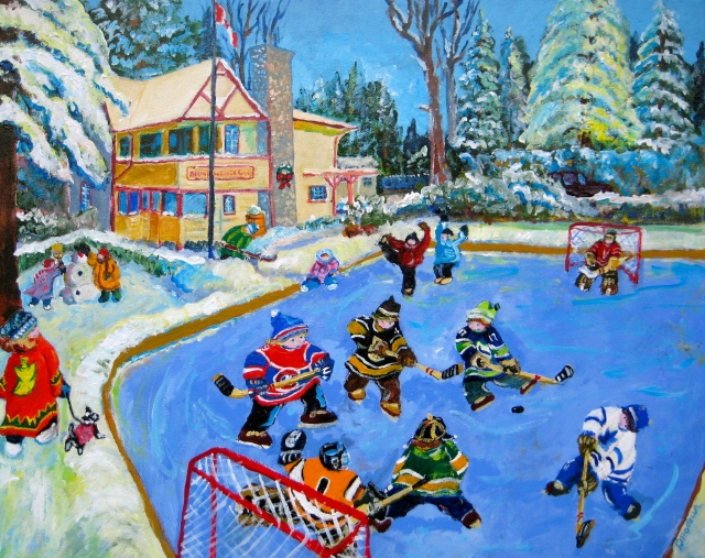 RICHARD BRODEUR. Winter Fun at the Gallery. Acrylic 16x20