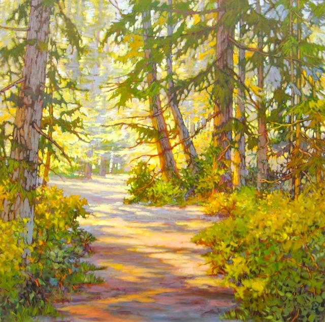 AMANDA JONES. Forest Light and Shadow. Acrylic 48x48