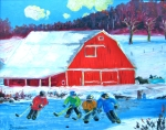 RICHARD BRODEUR. Having Fun on the Farm. Acrylic 16x20 in.