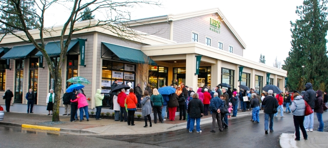 The gathering crowd on opening day of Lee's Market