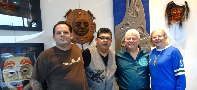 Kwantlen artist, Drew Atkins and Kevin Kelly with King Richard Brodeur and Brenda Alberts