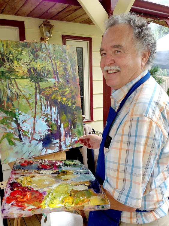 Artist, Perry Haddock demonstrates at Barbados Day