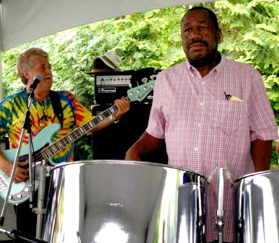 Mike Boivin of Red Stone Alley Band with special guest Kenrick Headley on steel pan drums