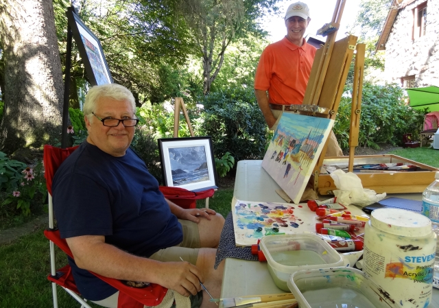 King Richard Brodeur, out of goal and, in the artists garden Aug 3 and 4
