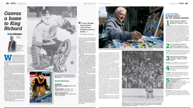 Birthplace of B.C. Gallery artist, Richard Brodeur is featured today in a two page spread in The Province