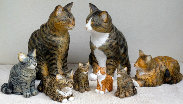 Comfort cats and kittens sculpted by Margo Harrison at the Birthplace of B.C. Gallery