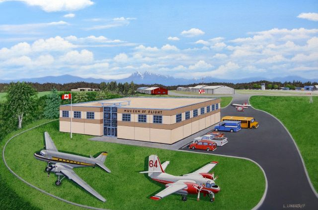 Artist's concept of a new home for the Candian Museum of Flight at Langley Airport. Painting by Birthplace of B.C. Gallery artist, Lyle Longstaff.