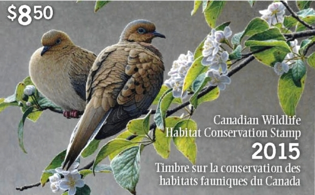 "© Her Majesty the Queen in Right of Canada, as represented by the Minister of Environment, 2015 The 2015 Canadian Wildlife Habitat Conservation Stamp, featuring the image of the painting ""Blossoming – Mourning Doves"" by wildlife artist W. Allan Hancock."