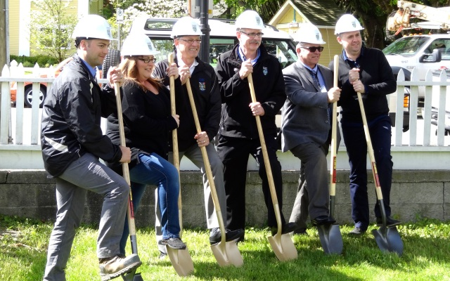 Ground was ceremoniously broken to mark the start of the utility undergrounding for Fort Langley