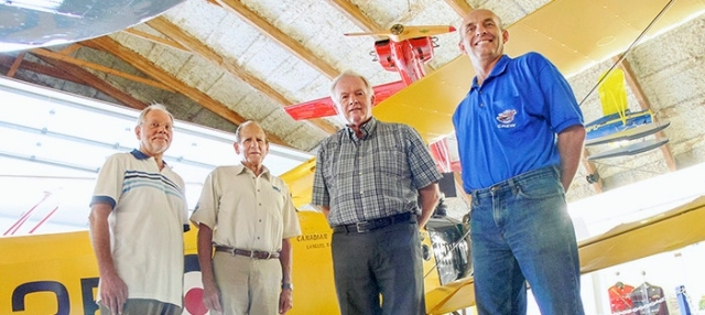 Dan FERGUSON / Langley Times   June 30 2015 The plane builders. The Canadian Museum of Flight has agreed to provide a Sopwith Pup for a Vimy Ridge fly-past of WW1 aircraft replicas in Europe in 2017. All they have to do now is build one. (L to R) Kurt Alberts, George Miller, Dave Arnold and Mike Sattler are optimistic.