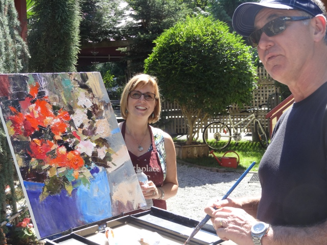 Amanda Jones and Brent Heighton showing their stuff at Demos in the Garden Aug 2 & 3, 2015