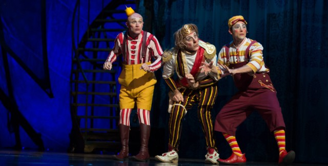 Fort Langley's Gordon White (middle) stars as head clown in Kooza, Photo VanCity Buzz
