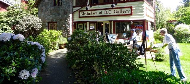 Sunny day. Patricia Falck at Birthplace of B.C. Gallery.