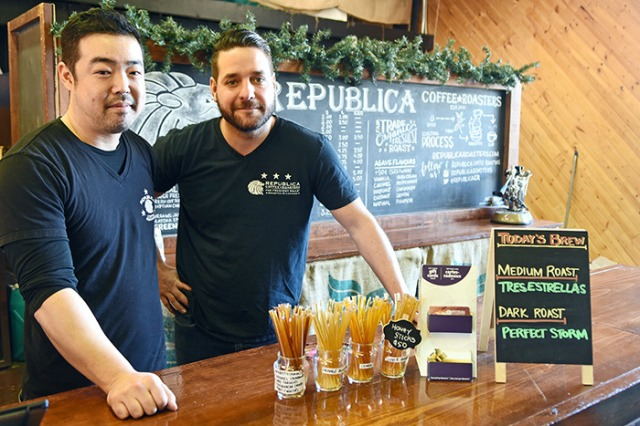 Hiro Tsujimoto (left) and Ricardo Masana at Republica Coffee in Gasoline Alley, Fort Langley. — Photo by: Miranda Gathercole/Langley Times