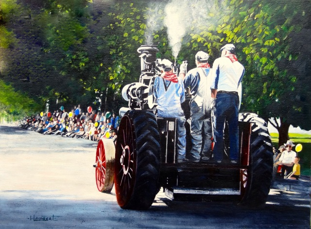 Bumming a Ride on May Day, acrylic painting by Heidi Lambert, Birthplace of B.C. Gallery